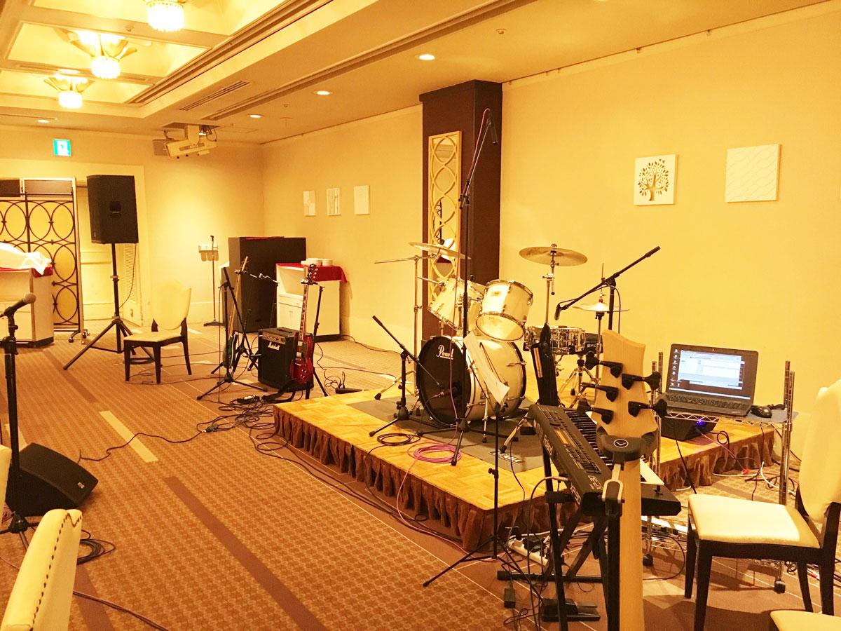 バンド機材レンタル&音響オペレート @厚木レンブラントホテル 企業忘年会